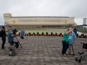 The Noah's ark replica at the Ark Encounter museum, which is the size of a fifty-story building, in Williamstown, Kentucky.