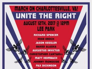 Promotional material for Unite the Right, a gathering of right-wing activists and white nationalists.