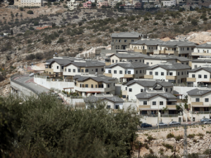 View of the Israeli settlement of Elkana (foreground), in the West Bank.