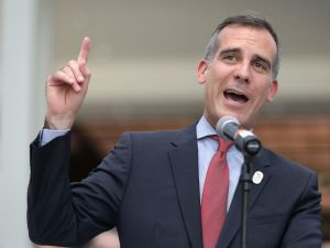 Los Angeles Mayor (and possible 2020 presidential candidate) Eric Garcetti speaks at the Los Angeles Convention Center.