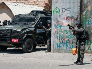 Israeli police in Bethelhem fire tear gas at protesters supporting the Palestinian prisoners' hunger strike.