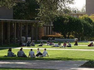 Students have class outdoors at Harvey Mudd College