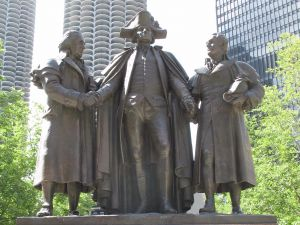 The Heald Square Monument in Chicago depicts Robert Morris, Haym Salomon and George Washington.