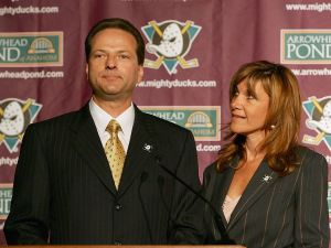 Henry and Susan Samueli, the new owners of The Mighty Ducks of Anaheim, attend a press conference on June 20, 2005.