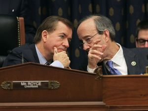 House Foreign Affairs Committee Chairman Ed Royce (left) confers with Democratic ranking member Eliot Engel.