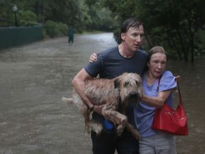 A man helps a neighbor down a street after rescuing her from her home in his boat after it was inundated with flooding from Hurricane Harvey in Houston, Texas.