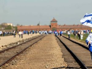 Students visiting Auschwitz.