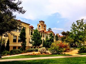Mason Hall and the Academic Quadrangle at Pomona College.