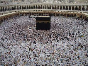 Muslim pilgrims pray at the holy city of Mecca, in Saudi Arabia.