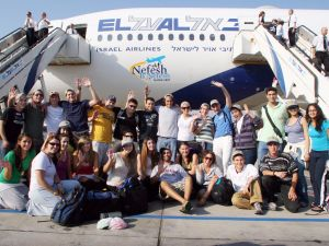 A charter flight for Jewish immigrants making aliyah to Israel organized by Nefesh b'Nefesh.