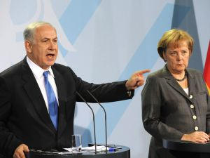 Israeli Prime Minister Benjamin Netanyahu and German Chancellor Angela Merkel at a press conference in Berlin, January 2010.