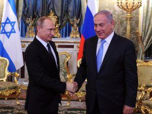 Israeli Prime Minister Benjamin Netanyahu meets with Russian President Vladimir Putin at the Kremlin in Moscow.
