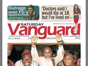 """The Vanguard newspaper led an edition with a story about Kanu and how a """"Jewish High Priest"""" helped secure his release."""