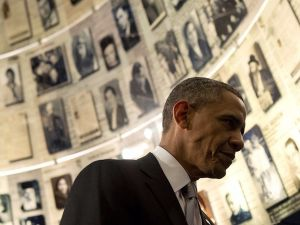 President Barack Obama tours the Hall of Names at the Yad Vashem Holocaust Museum in Jerusalem, March 22, 2013.