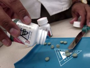 The prescription opioid painkiller OxyContin is displayed at a drugstore.