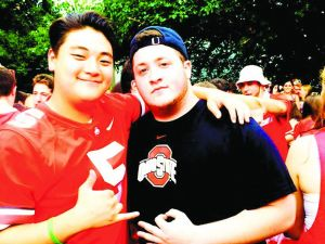 Brothers — But Then, Not: The close friendship between Eun Bae (left) and AEPi member Robbie Pearlmutter moved Bae to bid AEPi at Ohio State, which admitted him — until pressure from national AEPi officials forced the frat to rescind the offer.