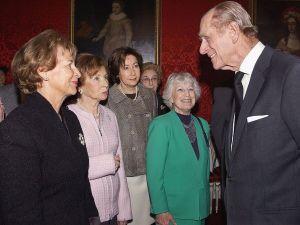 Prince Philip, the Duke of Edinburgh, speaks to Holocaust survivors at St. James's Palace in 2005.