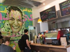 Reem's bakery in Oakland, California features a mural of convicted Palestinian terrorist Rasmea Odeh.