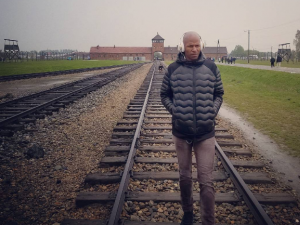 Former NBA All-Star Ray Allen tours the Auschwitz-Birkenau concentration camp in Poland.
