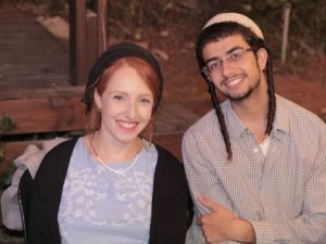 Renana Meir, the daughter of terror victim Dafna Meir, with her husband Or Cohen.