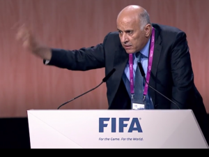 Palestinian Football Association President Jibril Rajoub addresses the FIFA Congress.