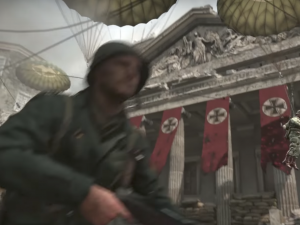 "Instead of swastikas, Nazi flags display black crosses in the new ""Call of Duty: World War II"" video game."