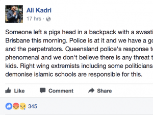 Ali Kadri, the acting chairman of the school, praised the police's response after a bag marked with a swastika containing a pig's head was left outside the Islamic College of Brisbane.