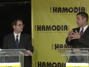 Kalman Yeger, left, and Yoni Hikind.