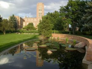 University of Denver's Mary Reed Hall and Harper Humanities Garden