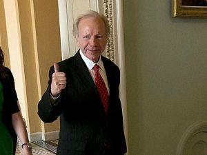 Swan Song: Joe Lieberman prepares for his final speech in Senate.