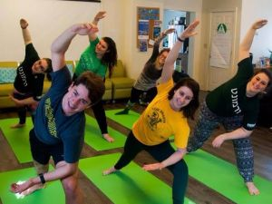 Jewish students do yoga at University of Vermont Hillel.