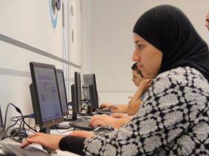 Arab citizen of Israel learning computer skills at Appleseeds Academy