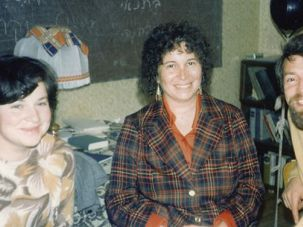 Welcome Visitor: Enid Wurtman (center) poses with Yuli and Inna Kosharovsky in Moscow, in October 1976.