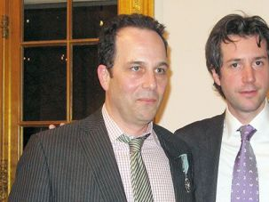 Philip Gourevitch (left) with Antonin Baudry