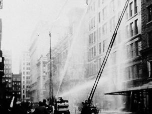 Failed Rescue: New York?s tallest ladder couldn?t reach the top floors where fire engulfed Triangle factory workers March 25,1911.