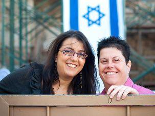 Acceptance: Above, Zehorit Sorek (left) and Limor Sorek, Tel Aviv?s first gay parents of an Orthodox bar mitzvah boy.
