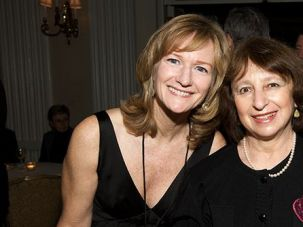 Fighting Parkinson?s: Eugenia Brin (right) was diagnosed with Parkinson?s in 1999. Five years later, researchers discovered the genetic cause of her disease: a mutation in the LRRK2 gene that is particularly common among Ashkenazi Jews. Here, she stands with Michael J. Fox Foundation co-founder Deborah Brooks.