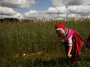 Children of the Corn: Two youngsters wear traditional garments of Sorbia, a region from which Yiddish might have emerged.