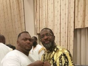 Kendrick Lamar's cousin Karni Ben Israel, at left, with Bishop Nathanyel of Israel United In Christ.