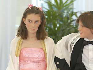 An Irish-Jewish Fugue: The author's children, Nadia and Max Hannan at their bat and bar mitzvah, which they celebrated in Ireland in 2005.