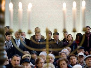 Martyrs Rememberers: Jews gather in Prague's Pinkas Synagogue on March 8 for the community's annual memorial for 4,000 Czech Jews killed in Birkenau in 1944.