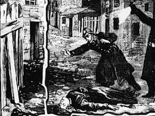 Whodunit? Two policemen discover the body of one of Jack the Ripper's victims, probably Catherine Eddowes, in London in September 1888.