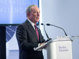 Michael Bloomberg announces the winner of the Genesis Generation Challenge.