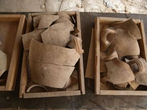 Shattered jugs recovered at the site.
