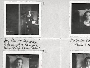 Selfies of a Lady: Dated May 5, 1939, Valerie 'Valy' Scheftel sent this letter to Karl in the United States, mourning the absence of letters from him. The first photo is captioned 'I'm so sad! No letter from Karl has come yet!' Sarah Wildman found it tucked in her grandfather's old album.