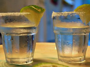 Frosty shots of tequila.