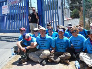 Jewish American activists at a sit-in outside of an Israeli jail in Hebron.