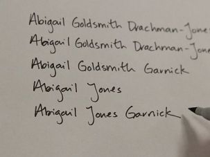 Weighing Options: Abigail Jones tries out new configurations of her name.