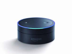 The Amazon Echo Dot features the artificial intelligence assistant program Alexa.