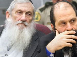 One of Their Own: Sholom Rubashkin (right) and his father, Aaron, at a pretrial hearing on May 4 in Waterloo, Iowa, on charges of violating child labor laws.